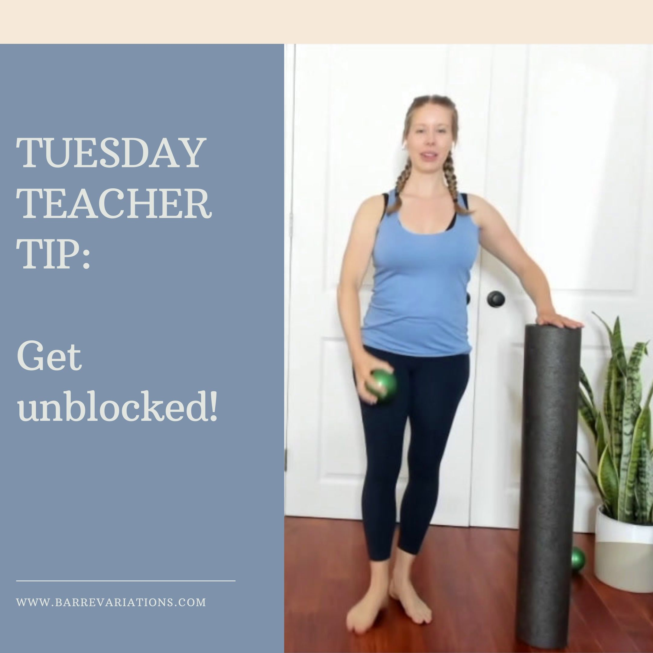 image that says get unblocked with woman working out at home