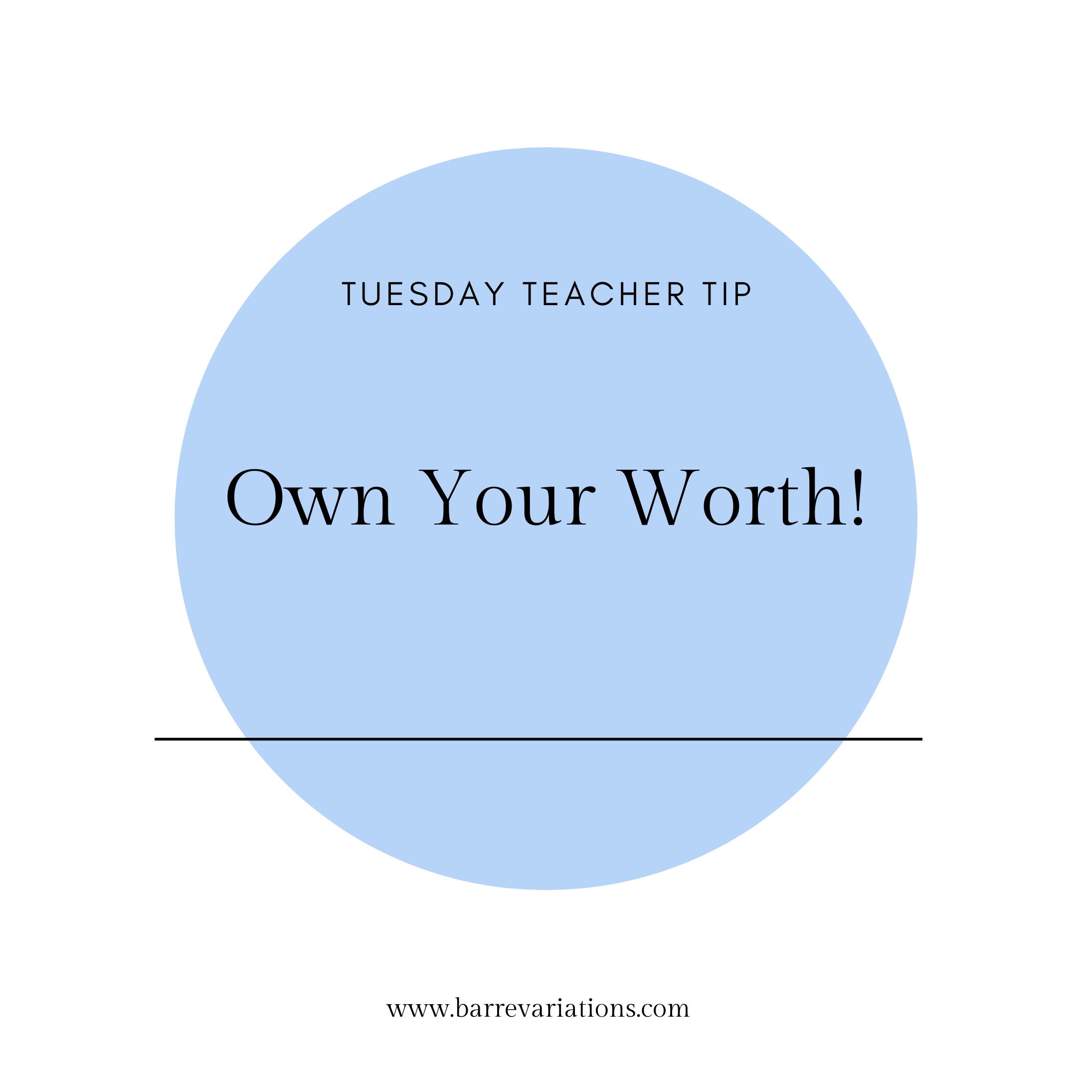 circle image of teacher tip own your worth!